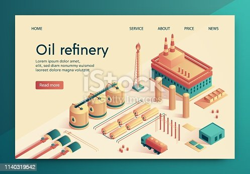 Vector Illustration is Written Oil Refinery Slide. Large Industrial Complex, for Purification Crude Oil. Refining Process During which Divided into main Fractions. Pipeline for Distance Transmission.