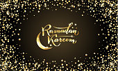 Vector illustration. Islamic Ramadan Kareem greeting beautiful isolated gold lettering text with moon, shiny stars on night black background. Ramadan Kareem greeting cards, banners, holidays posters