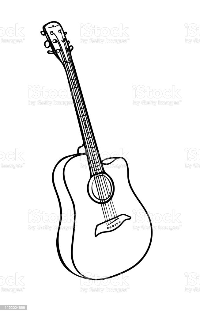 Vector Illustration Isolated Acoustic Guitar In Black And White Colors Outline Hand Painted Drawing Stock Illustration Download Image Now Istock