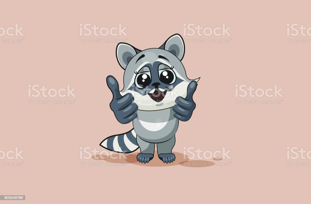 Vector Illustration isolated Emoji character cartoon raccoon cub design element sticker emoticon happy emotion with thumb up approval for info graphic, video, animation, web sites reports, comic vector art illustration