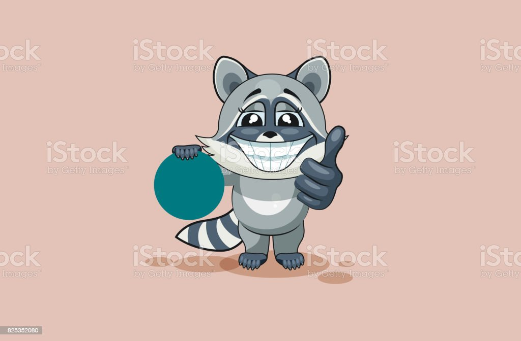 Vector Illustration isolated Emoji character cartoon raccoon cub holds circular design element sticker emoticon happy emotion with thumb up approval for info graphic, video, animation, web sites vector art illustration