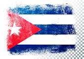 Vector Illustration isolated flag of cuba in grunge texture style.