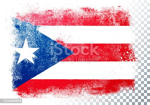 istock Vector Illustration isolated flag of puerto rico in grunge texture style. 1313464845