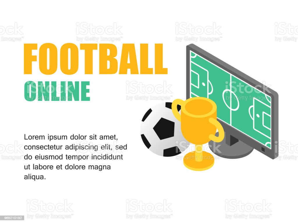Vector illustration isometric football field on monitor computer with soocer cup. Concept football cup. royalty-free vector illustration isometric football field on monitor computer with soocer cup concept football cup stock vector art & more images of activity