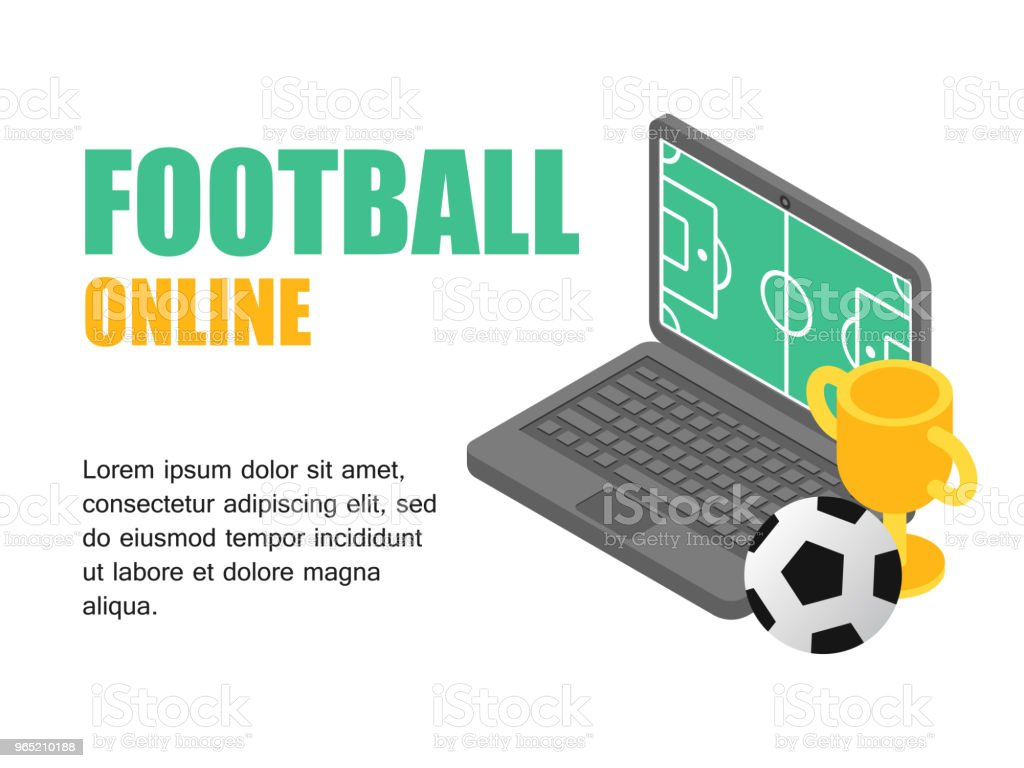 Vector illustration isometric football field on screen laptop with soocer cup. Concept football cup. royalty-free vector illustration isometric football field on screen laptop with soocer cup concept football cup stock vector art & more images of activity