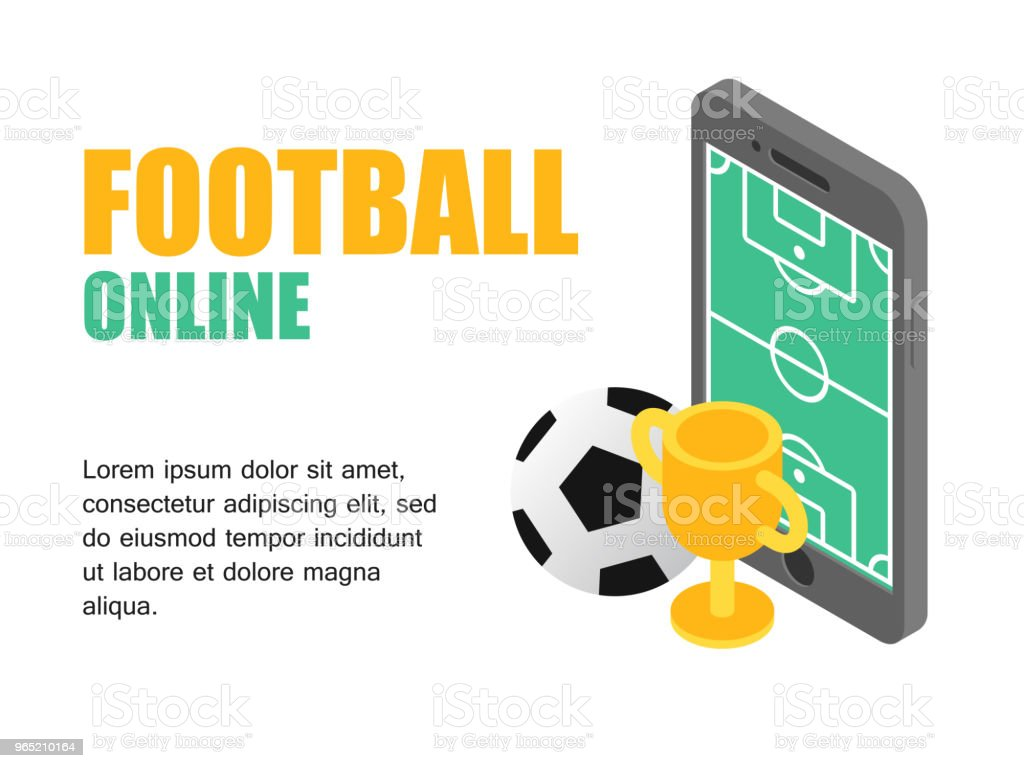 Vector illustration isometric football field on screen smartphone with soocer cup. Concept football cup. royalty-free vector illustration isometric football field on screen smartphone with soocer cup concept football cup stock vector art & more images of activity