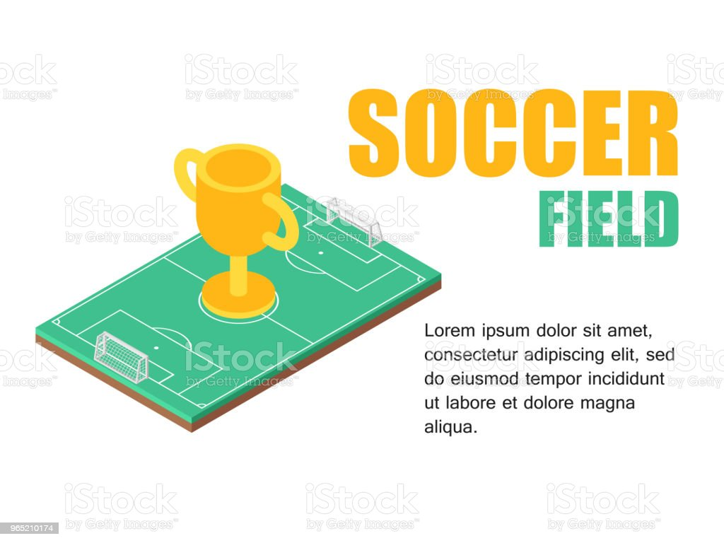 Vector illustration isometric football field with soocer cup. Concept soccer cup. royalty-free vector illustration isometric football field with soocer cup concept soccer cup stock vector art & more images of activity