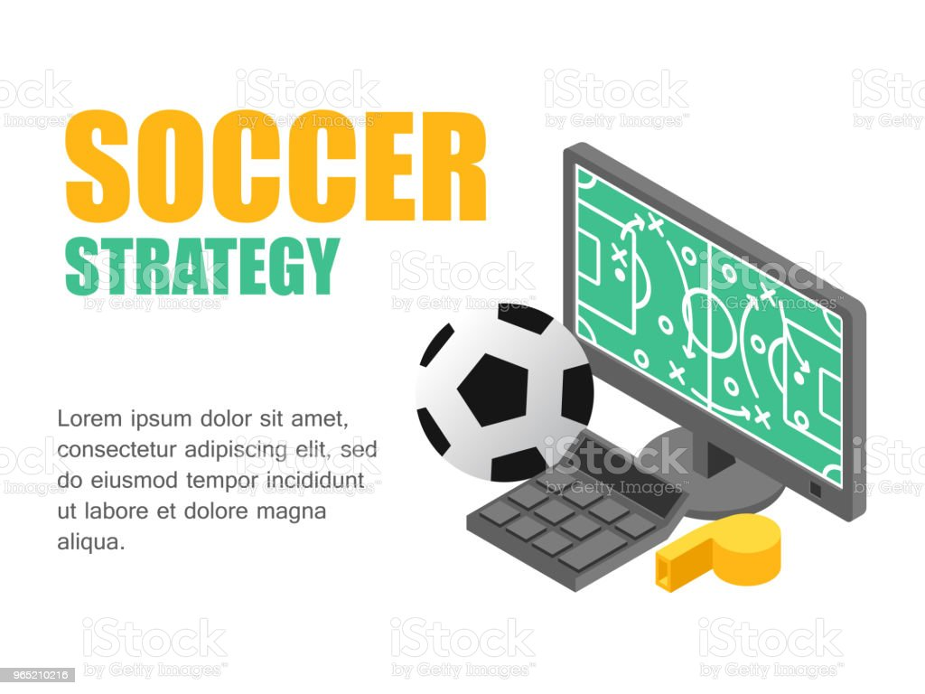 Vector illustration isometric football field with strategy on monitor computer. Concept soccer strategy royalty-free vector illustration isometric football field with strategy on monitor computer concept soccer strategy stock illustration - download image now