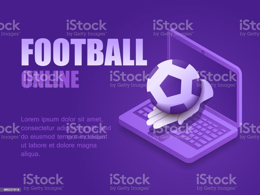 Vector illustration isometric hand with football ball of the screen laptop. Graphic design background soccer game live. Concept soccer online vector illustration isometric hand with football ball of the screen laptop graphic design background soccer game live concept soccer online - stockowe grafiki wektorowe i więcej obrazów czynność royalty-free