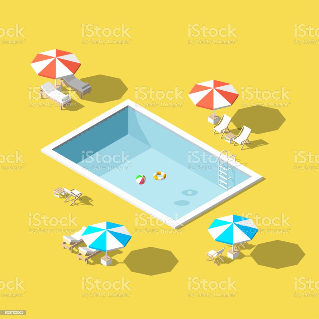 Vector Illustration Isometric Low Poly Chaise Lounges In Swimming ...