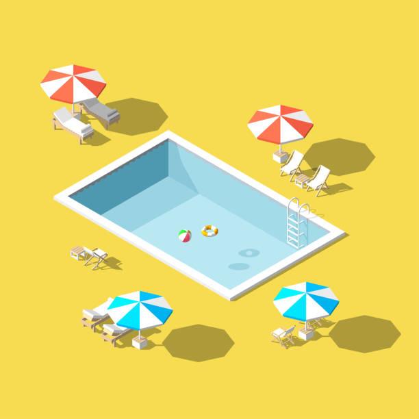 bildbanksillustrationer, clip art samt tecknat material och ikoner med vektor illustration isometrisk låg poly schäslonger i poolen - pool