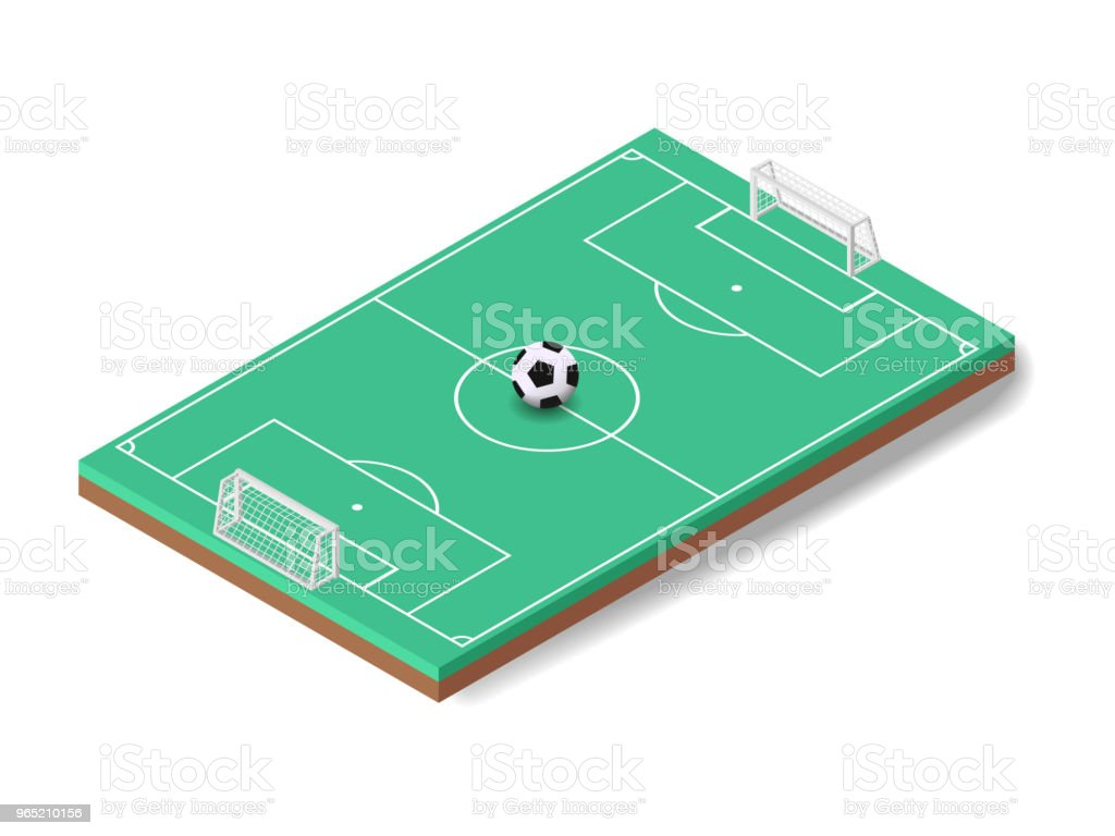 Vector illustration isometric soocer ball on sport football field royalty-free vector illustration isometric soocer ball on sport football field stock vector art & more images of activity