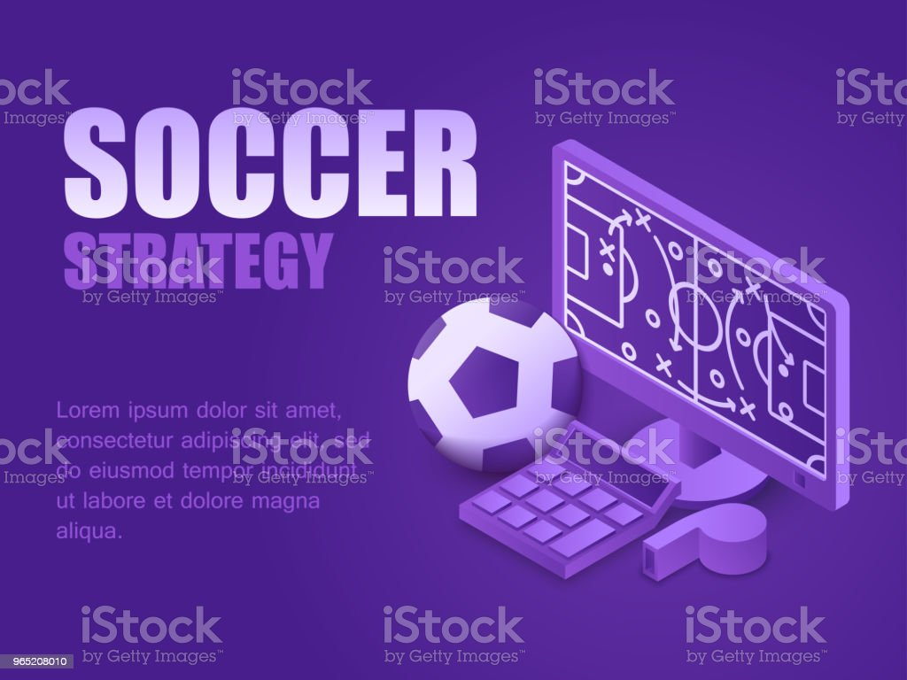 Vector illustration isometric sport field with strategy on monitor computer, soccer ball and whistle. Concept soccer strategy. vector illustration isometric sport field with strategy on monitor computer soccer ball and whistle concept soccer strategy - stockowe grafiki wektorowe i więcej obrazów czynność royalty-free