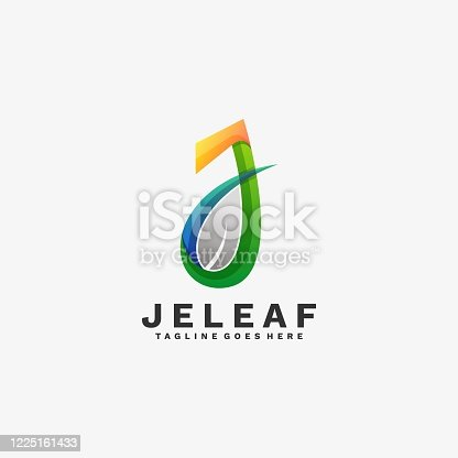 istock Vector Illustration J leaf Gradient Colorful Style. 1225161433