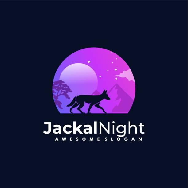 Vector Illustration Jackal Night Silhouette Style Vector Illustration Jackal Night Silhouette Style carnivorous stock illustrations