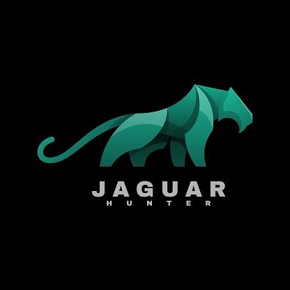 Vector Illustration Jaguar Gradient Colorful Style.