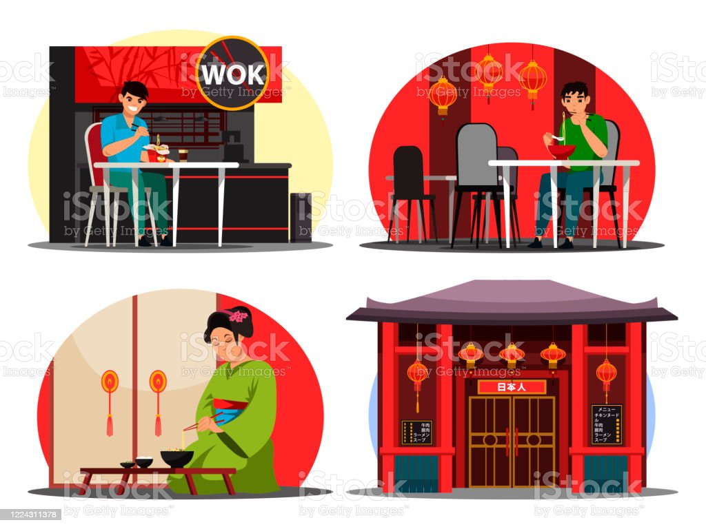 Vector Illustration Japanese Restaurant Set Stock Illustration Download Image Now Istock