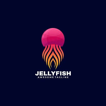 Vector Illustration Jelly Fish Gradient Colorful Style.