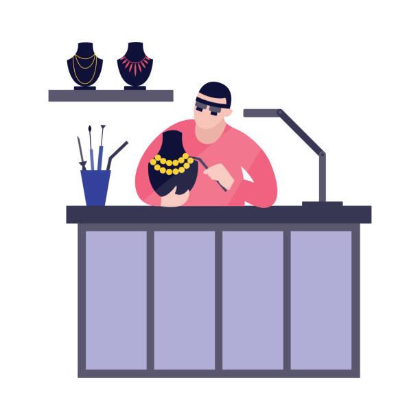 illustrazioni stock, clip art, cartoni animati e icone di tendenza di vector illustration jeweler at work. - uomo artigiano gioielli