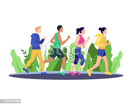 Marathon race group, Running men and women sports background. People runner race, training to marathon, jogging and running illustration. Vector in flat style