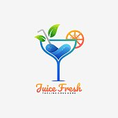 Vector Illustration Juice Fresh Gradient Colorful Style.