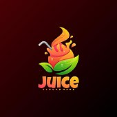 Vector Illustration Juice Gradient Colorful Style.