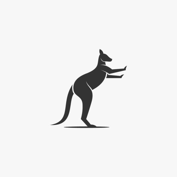 bildbanksillustrationer, clip art samt tecknat material och ikoner med vektor illustration känguru silhuett stil. - abstract silhouette art