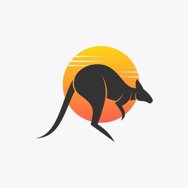 bildbanksillustrationer, clip art samt tecknat material och ikoner med vektorillustration känguru med sunset silhouette style. - abstract silhouette art