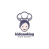 Vector Illustration Kid Cooking Mascot Cartoon Style.