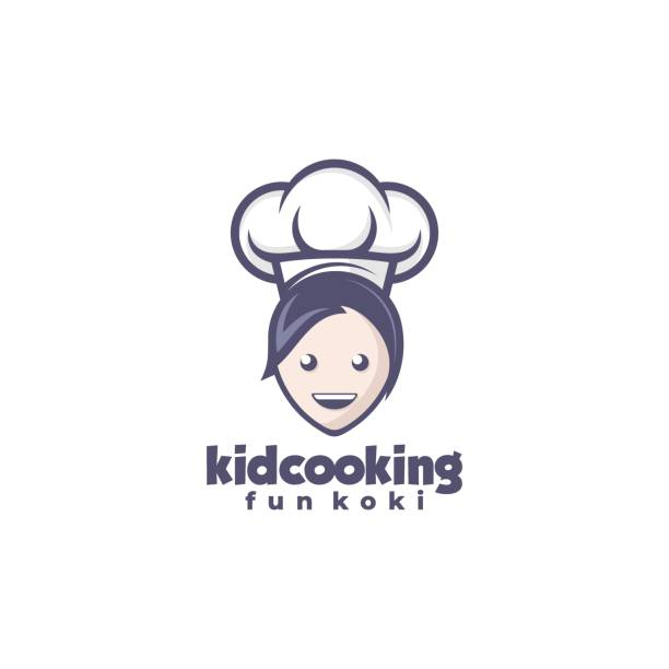 Vector Illustration Kid Cooking Mascot Cartoon Style. Vector Illustration Kid Cooking Mascot Cartoon Style. one young woman only stock illustrations