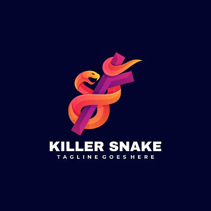 Vector Illustration Killer Snake Gradient Colorful Style.