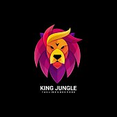 istock Vector Illustration King Jungle Gradient Colorful Style. 1252625280