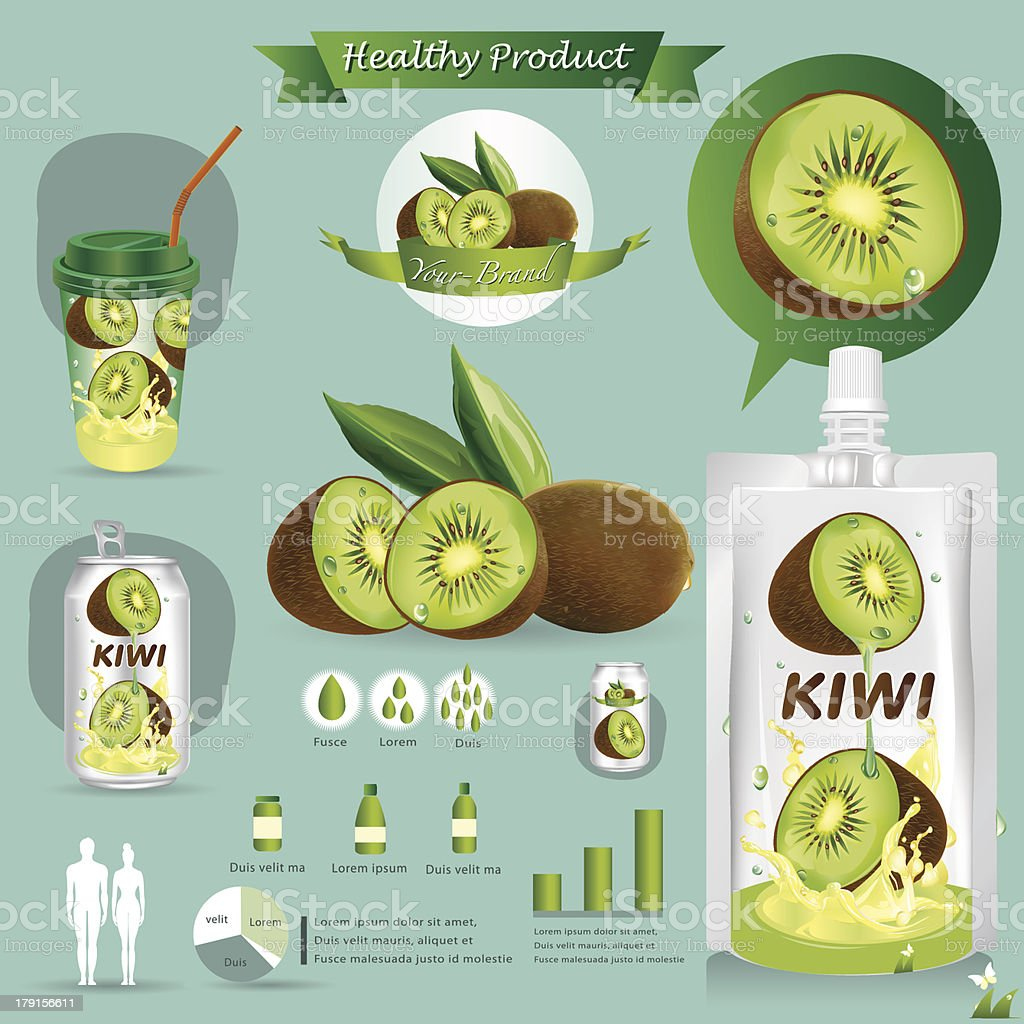 Vector illustration. Kiwi fruits package.infographics royalty-free stock vector art