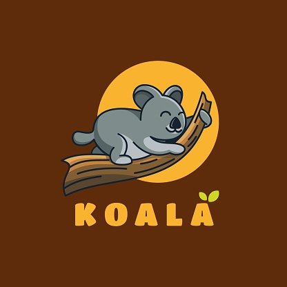 Vector Illustration Koala Cute Cartoon Style.