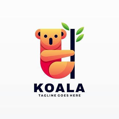 Vector Illustration Koala Gradient Colorful Style.