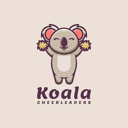 Vector Illustration Koala Simple Mascot Style.