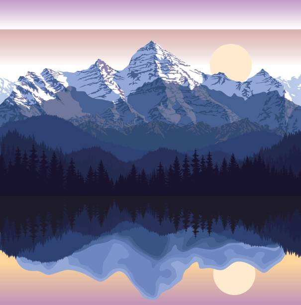 Vector illustration - lake in mountains Vector illustration - lake in mountains land feature stock illustrations