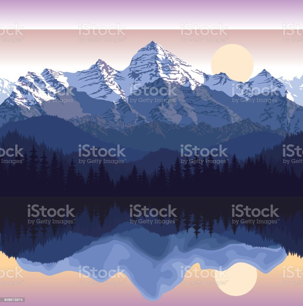 Vector illustration - lake in mountains vector art illustration
