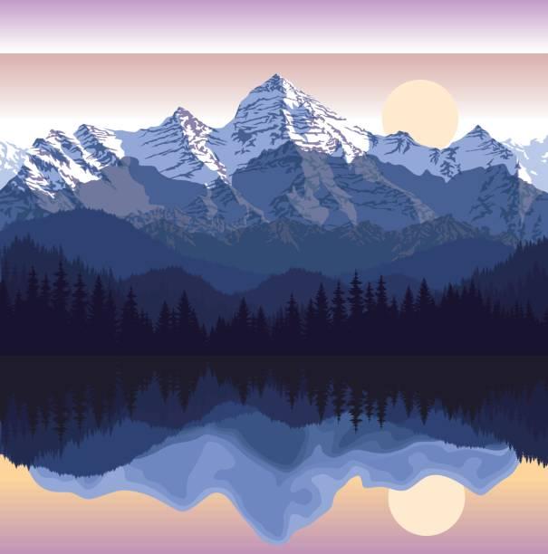 bildbanksillustrationer, clip art samt tecknat material och ikoner med vektorillustration - sjön i bergen - landformation