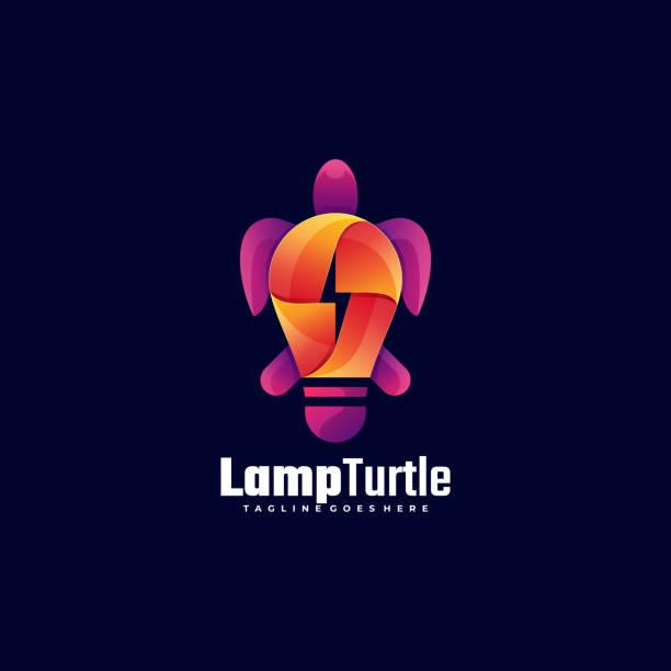 Vector Illustration Lamp Turtle Gradient Colorful Style. Vector Illustration Lamp Turtle Gradient Colorful Style. amphibians stock illustrations