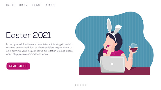 Vector illustration landing page or template for Easter celebration online 2021. Woman drinking wine with laptop, bunny ears and chatting or speking.
