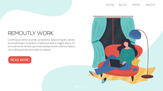 Vector illustration landing page or template with cozy and cute living room interior with girl with her laptop. She works or study night in her home.