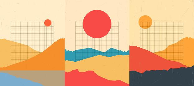 Vector illustration landscape. Mountain peaks, desert hills. Line grid pattern. Sunshine scene background. Polygonal style. Design for notebook, poster, copybook cover, web template, brochure, flyer