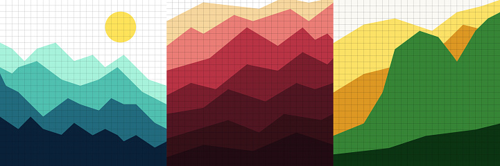 Vector illustration landscape. Mountain peaks, green hills on linear grid pattern. Mountains background. Polygonal minimalist style. Design elements for social media template, blog post, square banner