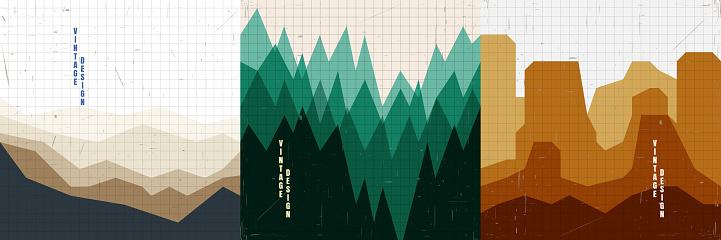 Vector illustration landscape. Mountains, green forest, canyon hills. Line grid pattern. Retro vintage background. Polygonal style. Design elements for social media template, blog post, square banner