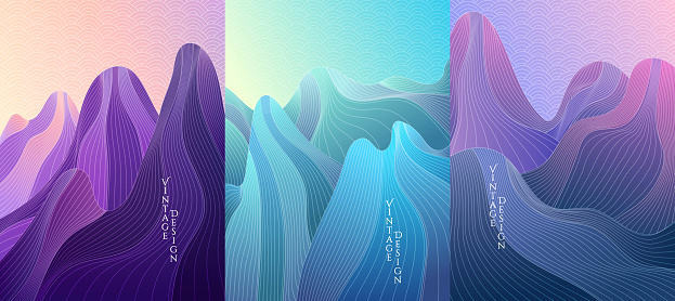 Vector illustration landscape set. Hills, mountains. Linear wave pattern. Striped color background. Asian style. Design for poster, book cover, web template, brochure, card, magazine, layout