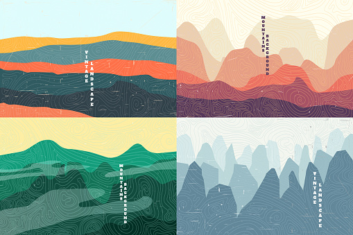 Vector illustration landscape. Summer season. Forest, valley, mountain peak. Vacation concept. Cartoon abstraction. Scenery. Simple wallpapers. Vintage background collection.