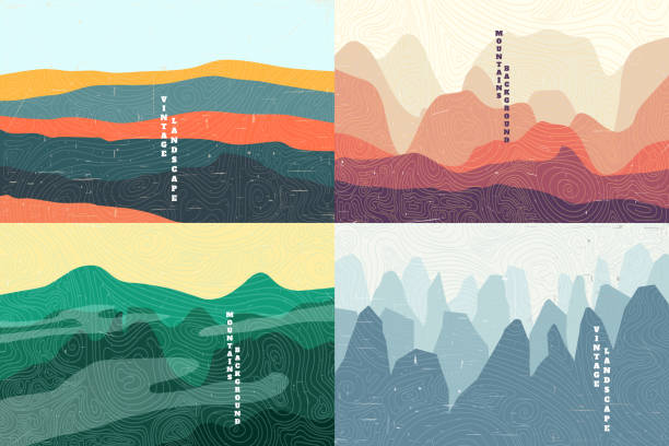 Vector illustration landscape. Summer season. Forest, valley, mountain peak. Vacation concept. Cartoon abstraction. Scenery. Simple wallpapers. Vintage background collection. Vector illustration landscape. Summer season. Forest, valley, mountain peak. Vacation concept. Cartoon abstraction. Scenery. Simple wallpapers. Vintage background collection. adventure stock illustrations