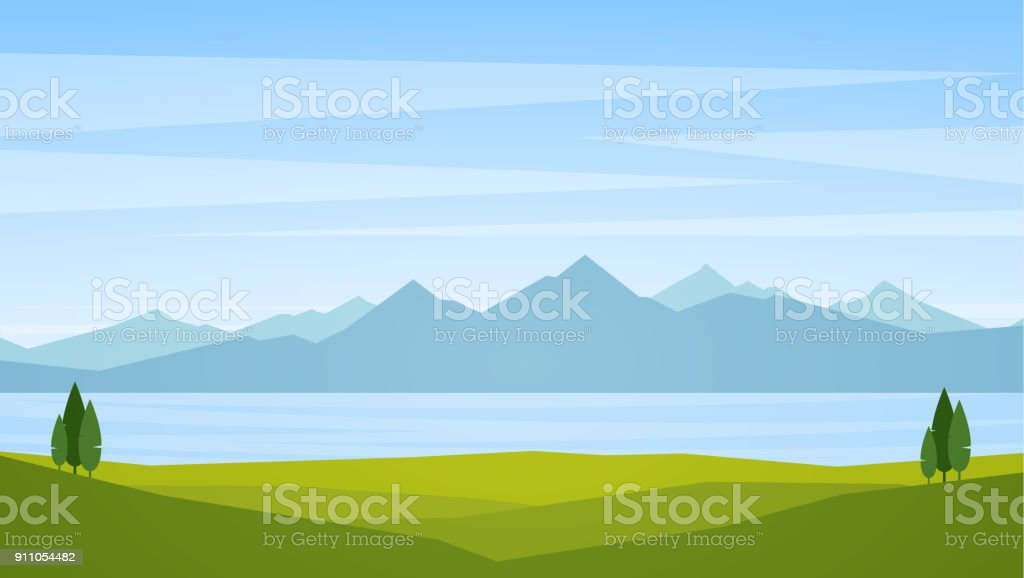 Vector illustration: Landscape with lake or bay and mountains on horizon vector art illustration
