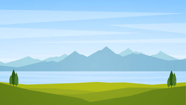 vector illustration: landscape with lake or bay and mountains on horizon - панорамный stock illustrations
